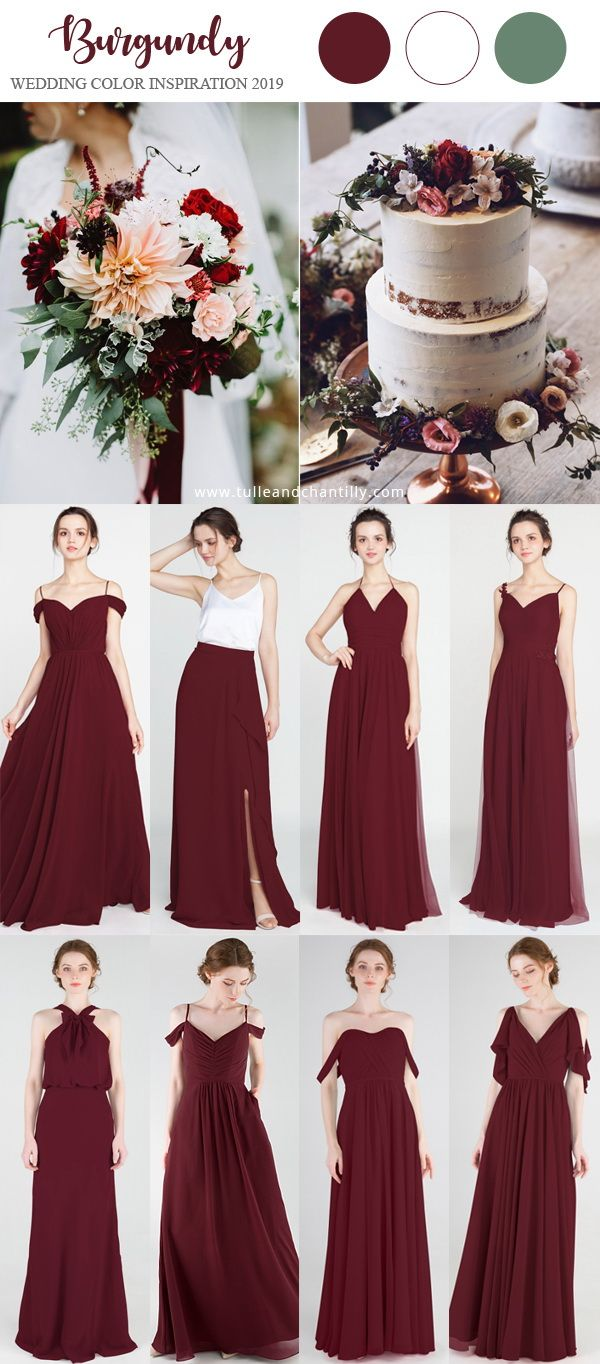 a20e8cc79b09 burgundy wedding color inspiration ideas with bridesmaid dresses 2019 # wedding #weddinginspiration #bridesmaids #bridesmaiddress #bridalparty  #maidofhonor ...
