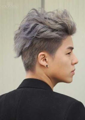 Model rambut undercut pria asia bleached white-purple top