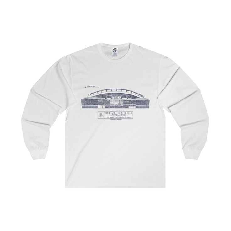 Sports Authority Field at Mile High (Blue Lines) Adult Long Sleeve Tee
