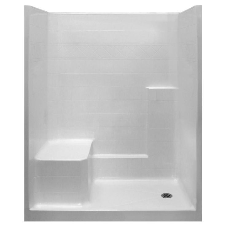 Ella Standard 36 in. x 60 in. x 77 in. 1-Piece Low Threshold Shower Stall in White with LHS Molded Seat and Right Drain