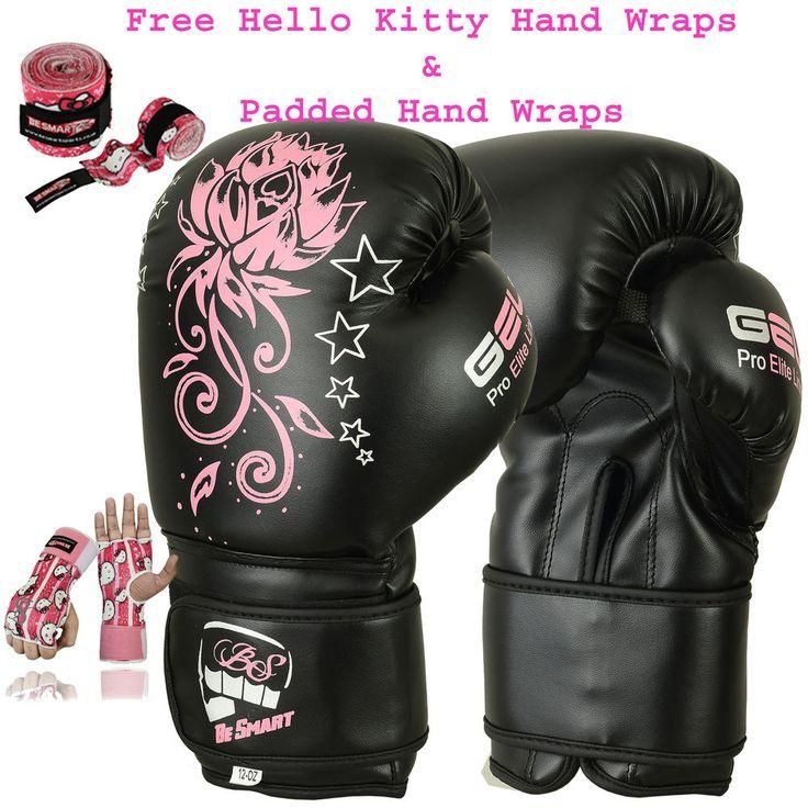 Ladies Pink Gel Boxing Gloves Bag Womens Gym Kick Pads MMA Mitts Muay Thai G