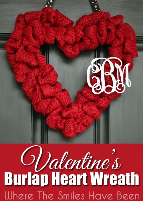Valentine's Burlap Heart Wreath with Couple's Monogram. Such an easy way to decorate your home with your and your spouse's monogram!