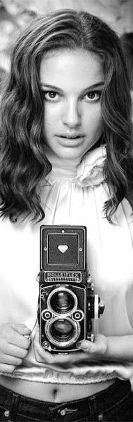 Natalie Portman with a Rolleiflex. -- I have one of those cameras... still works last time it was used too!