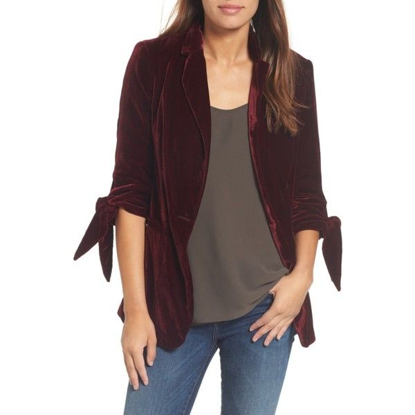 Petite Women's Halogen Tie Sleeve Velvet Blazer (125 CAD) ❤ liked on Polyvore featuring outerwear, jackets, blazers, burgundy stem, petite, velvet jacket, brown blazer jacket, halogen jacket, structure jacket and sleeve jacket