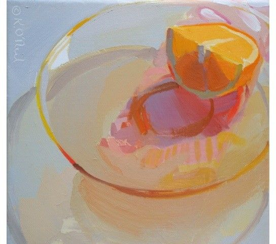 orange, glass, still life, food, light, color transparent, pastel // Karen O'Neil
