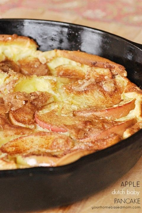 Apple Dutch Baby Pancake (used 3 tbls butter, 2 small apples, and 2/3 of the cinnamon sugar mix. Cooked for 30 min)