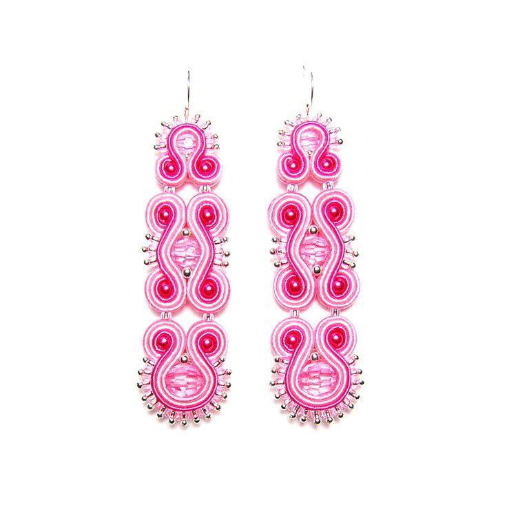 Soutache earrings pink handmade jewelry shop gift for sale buy orecchini pendientes oorbellen Ohrringe brincos örhängen boucles d'oreilles by SoutacheFlowOn on Etsy