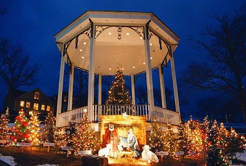 The town's Band Stand at Christmas