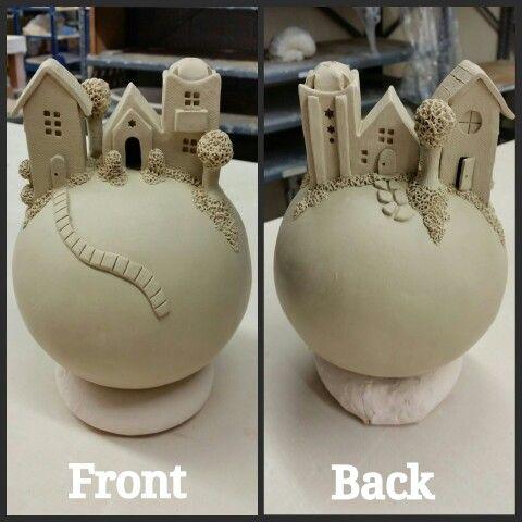 Hand built clay village sphere