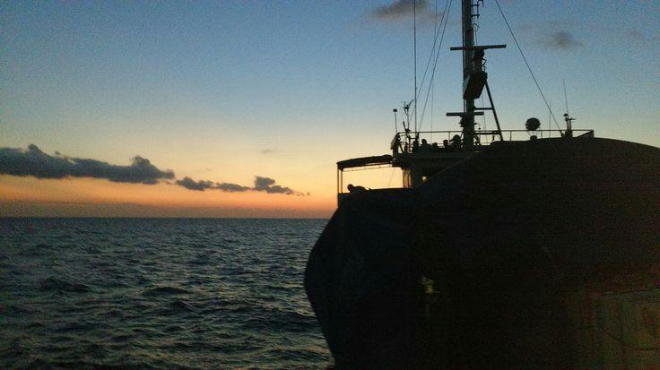 Amazing sunset from ship