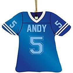 "Personalized Football Jersey Ornament-Blue, 3.5"" x 3"", Ceramic"