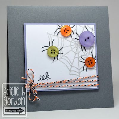 Colorful spiders made from buttons?  Who knew how cute these would be!  Use a pen or marker to draw the legs, and a web stamp if you have one.  Add some black/orange/white twine for a litt class and you have a great handmade Halloween card.