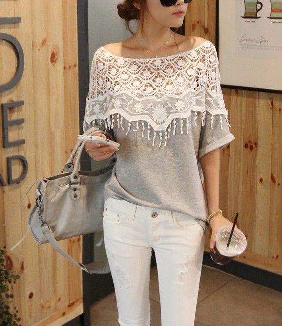 2013 sweet lace cutout shirt women handmade crochet cape collar batwing sleeve blouse medium-long t shirt female SYY0220 $26.20
