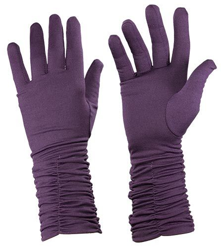 Purple Gloves with Gathered Edge