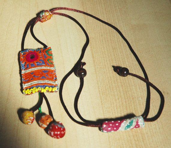 Pendant necklace Statement jewelry Textile by KalptaruUnique