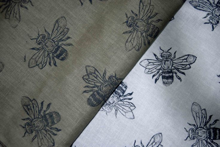 Linen Fabric Bee Hand block printed by the by TallTreesDesigns, £16.00