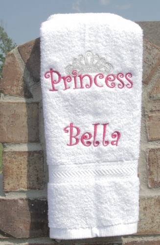 Personalized Embroidered Pink Princess Crown Hand Towel Personalized  Embroidered Hot Pink and Silver Princess Crown Hand Towel. This is a lovely  white hand ...