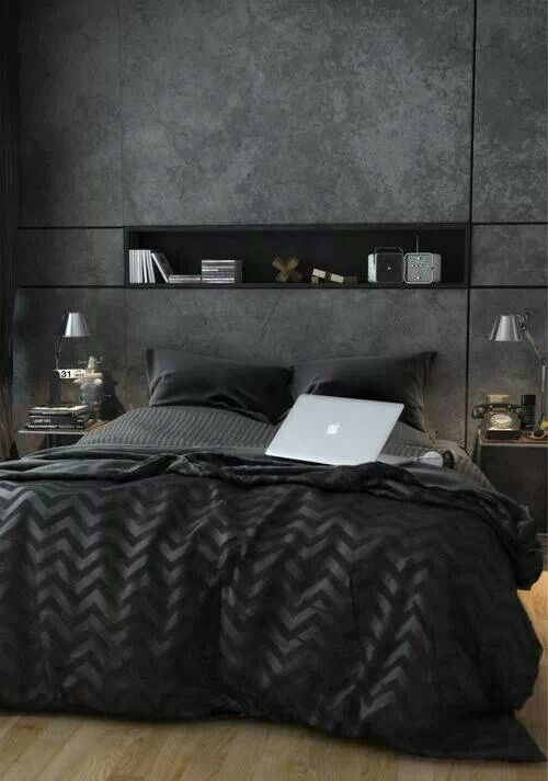 Harmaata ja mustaa tyylikkäästi yhdistellen syntyy arvokas kokonaisuus. #etuovisisustus #makuuhuone