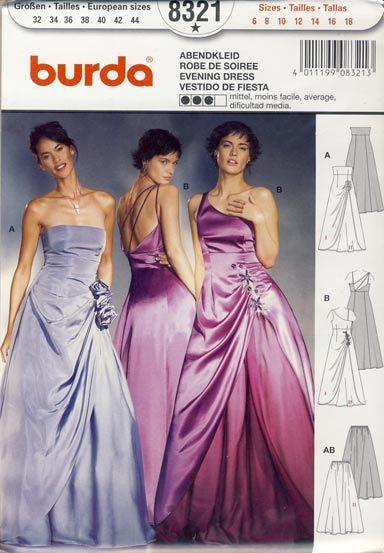 wykrój Burda - dwie wersje wieczorowych sukien rozmiar 32 34 36 38 40 42 44 wykrój w jęz.