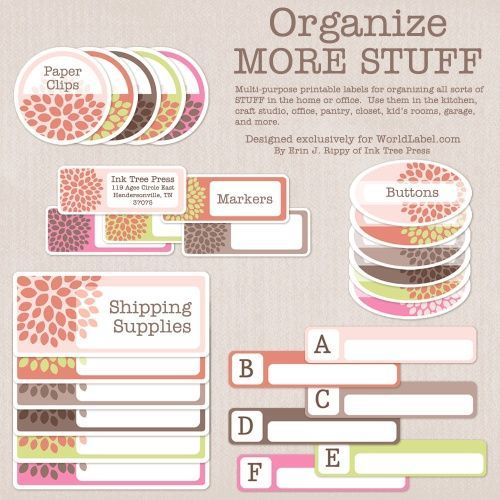 """Organizing labels for more of your stuff! Use them for all sorts of stuff in the home or office. Use them in the kitchen, craft studio, kid's room, garage and more!  Labels are free for download and are in edible PDF templates ready to print on your laser and inkjet printers."""