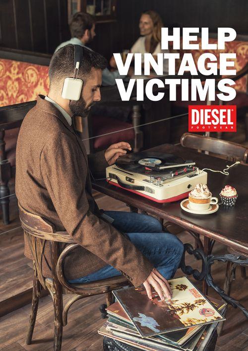 """""""Diesel AW2014"""" I DIESEL Footwear siempre se ha caracterizado por su espíritu inconformista y desenfadado, no sujeto a convenciones sociales o modas pasajeras. Su nueva campaña Otoño-Invierno 2014-2015 debía reflejar ese aspecto de una manera con la que el público más directo de la marca pudiera conectar de manera inmediata. #Imaginarte #Print #Fashion #Shoes #Vintage #Vinyl"""