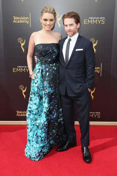 Actors Clare Grant and Seth Green attend the 2016 Creative Arts Emmy Awards at…