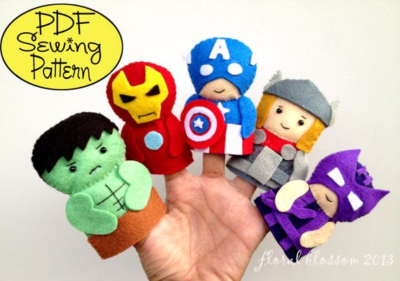 PDF Pattern: Avengers Felt Finger Puppets via Etsy - This shop has tons of great Animal Finger Puppet Patterns too!