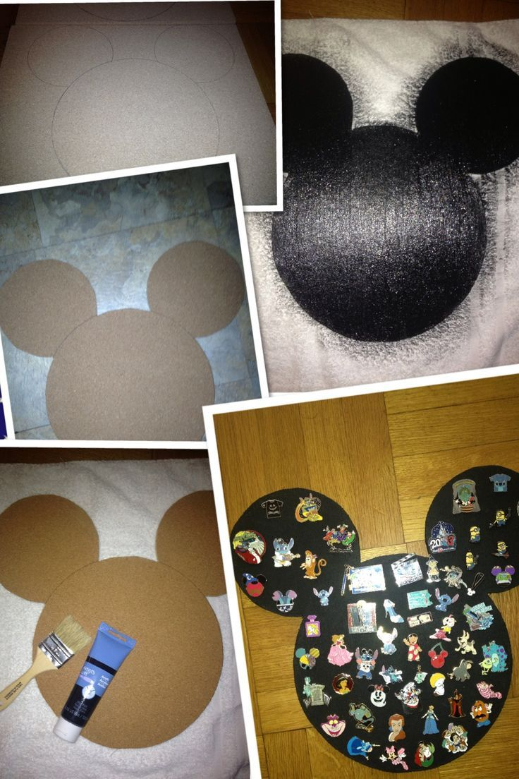 Cork board cut out as Mickey ears to use as a display for trading pins