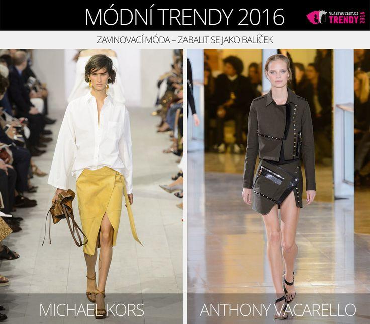 Módní trendy 2016 – zavinovací móda. (Zleva: Michael Kors a Anthony Vacarello.)