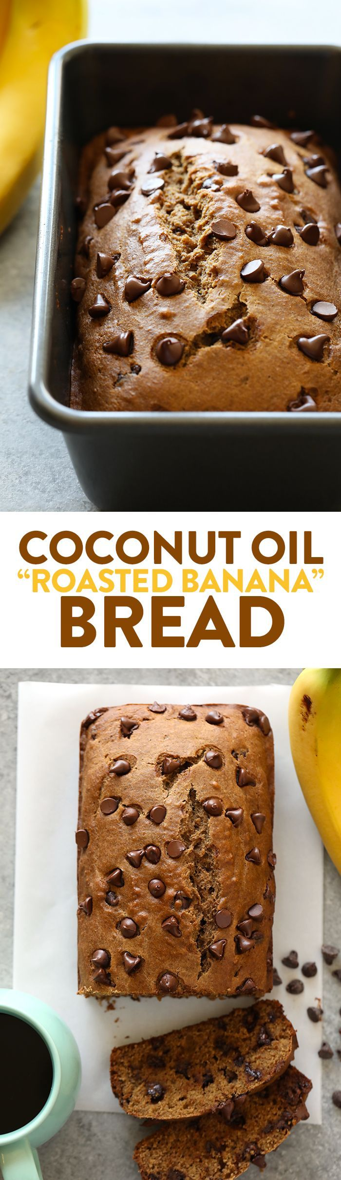 This Whole Wheat Coconut Oil Roasted Banana Bread is about to change you life. It's made with white whole wheat flour, roasted bananas, coconut oil, and dark chocolate chips.