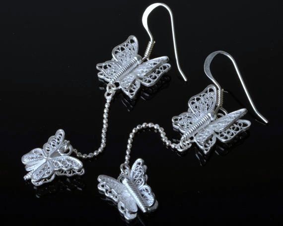 925 Sterling Silver Filigree Butterfly Earring by DewiJewelry