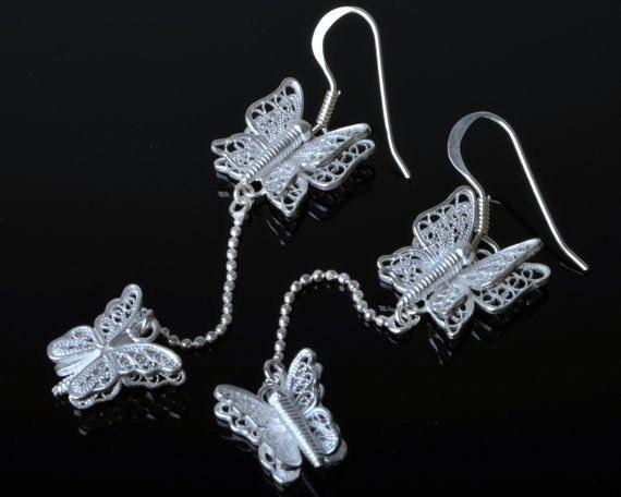 925 Sterling Silver Filigree Butterfly Earring by DewiJewelry