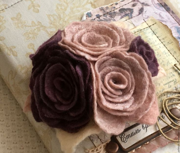 """Купить Валяная брошь """"Букет роз"""" - бежевый, брошь, брошь цветок, брошь-цветок"""