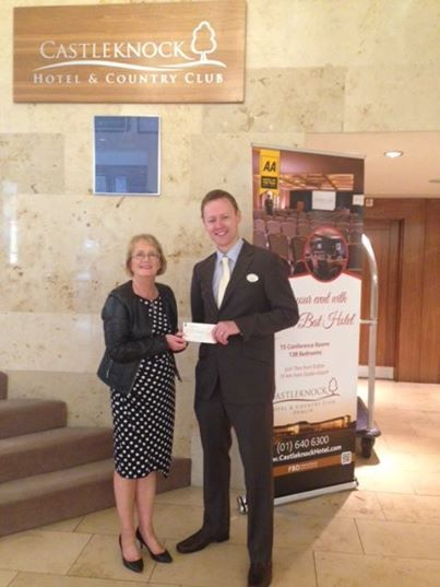 Andrew Kavanagh, Director of Sales & Marketing at Castleknock Hotel presenting Marie Peelo of Pieta House with a cheque for €225 this morning raised from the breakfast sales of the Darkness in to Light event. Thanks to everyone who visited.