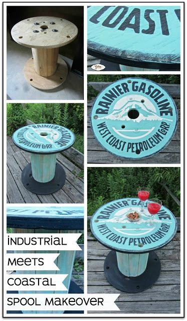 Paint up a spool with a vintage ad design. Aqua and cream give it a coastal vibe and the black gives it that industrial edge. Use it as a table on the porch or in the man cave.
