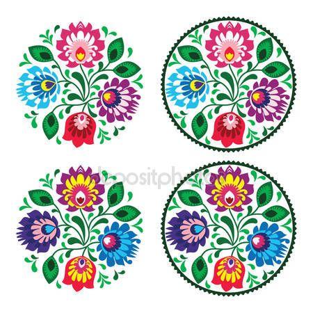 Herunterladen - Ethnische Runde Stickerei mit Blüten - traditionelle Vintage Muster aus Polen — Stockillustration #25603247
