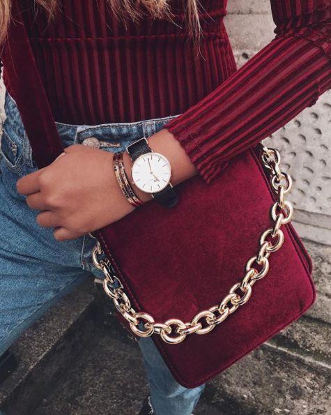 • Burgundy Velvet Cross Body Bag •