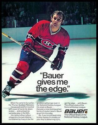 Guy Lafleur Hockey Bauer Skates National Hockey League 1977 Ad