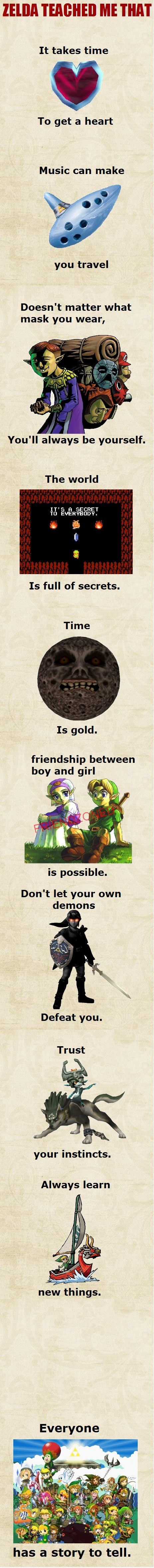 "Love it except that the first line is grammatically incorrect and should be ""Zelda taught me that"""
