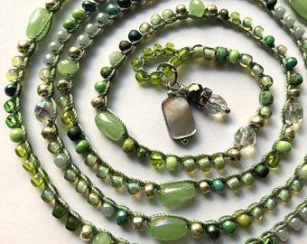 Groene kralen haak wikkel armband of ketting, zomer sieraden, Boheemse sieraden, sieraden, zomer mode cadeau voor haar, coffycrochet haak