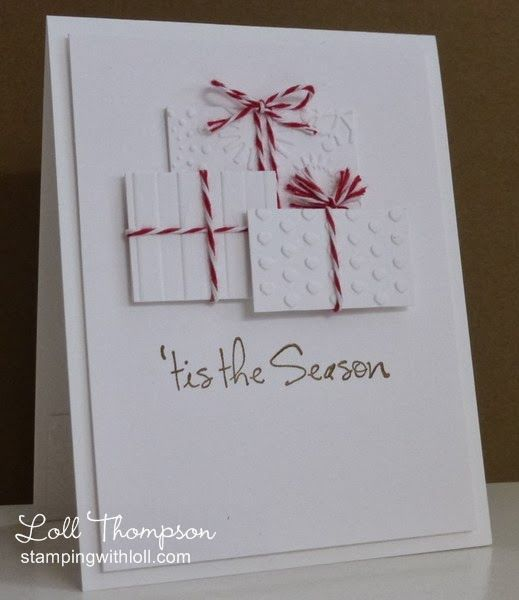 handmade Christmas card from Stamping with Loll ... white with three packages in different embossed textures ... red and white bakers' twine ...