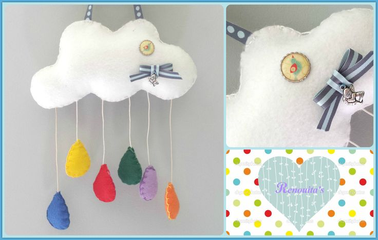 cloud mobile, nursery decor, babyroom, wall decor