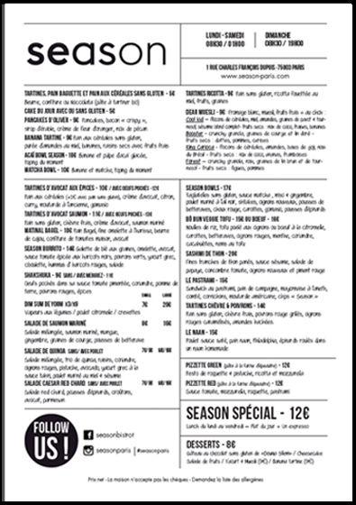 Découvrez les menus et brunch de Season