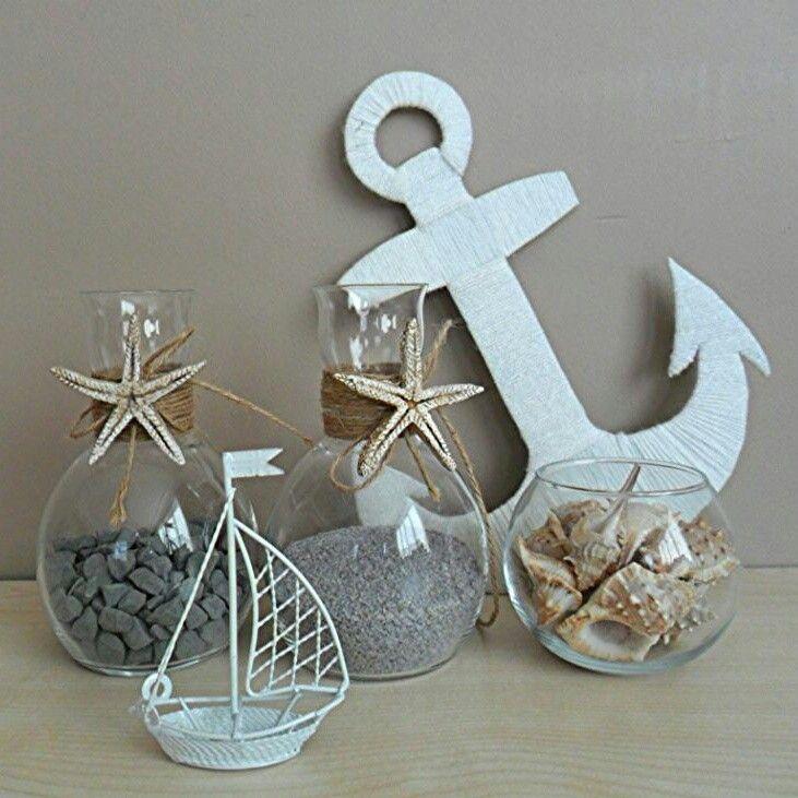 #dekoratifobje #dekor #banyo #deniz #denizyildizi #çapa #yelkenli #bathroom #beach #coastal #sailboat #seashells #starfish #anchor #grey #ocean #summer #glassbowl #sea