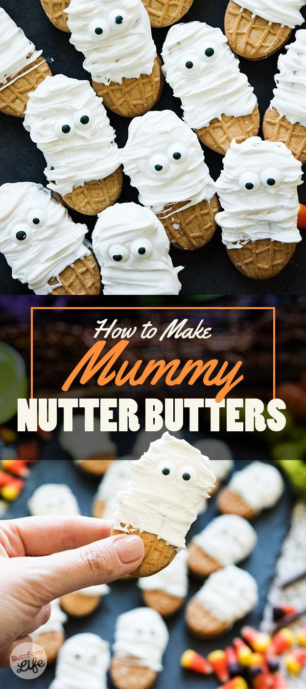 Dip Nutter Butters in candy melts for an insanely cute three-ingredient dessert. | 7 Insanely Delicious Dessert Recipes To Celebrate Halloween