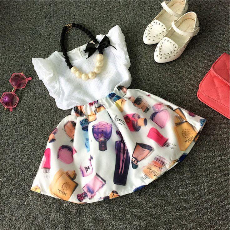 Encontrar Más Conjuntos de Ropa Información acerca de Bebé Set Girls 2015 niño de los cabritos de la camiseta + falda 2 unids Set conjuntos ropa, alta calidad ropa de importación, China ropa de marca Proveedores, barato ropa de Pakistán de STEVEN  T en Aliexpress.com