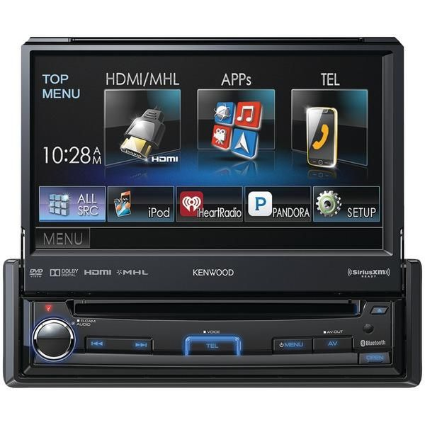 "KENWOOD KVT-7012BT 6.95"" Single-DIN In-Dash Motorized LCD Touchscreen DVD Receiver with Bluetooth(R), True Mirroring, Pandora(R) Internet Radio Compatible & SiriusXM(R) Ready"