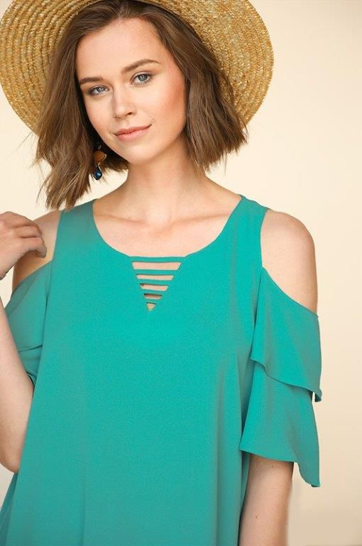 0edbde1c6eece Layered Ruffle Sleeve Open Shoulder Top with a Back Keyhole and Neckline  Cutout
