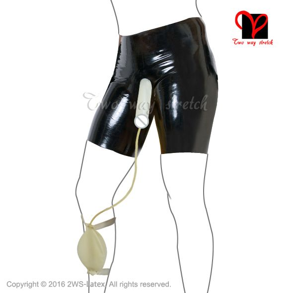 ==> [Free Shipping] Buy Best Sexy Latex Condom long leg boxer short piss Collection Bag Rubber bermuda Penis Sheath Underwear cock hotpants Underpants KZ-086 Online with LOWEST Price | 32769775026
