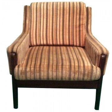 Velour And Teak Danish Style Arm Chair. Comfortable And Perfect For Curling  Up With